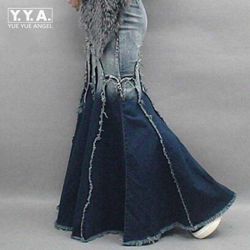 Falda Pescado Señoras De Cola Sexy Bodycon Bordado Maxi Multi Capas Blue Largas Swing Faldas Encantador Denim 2019 H0qWnZZ