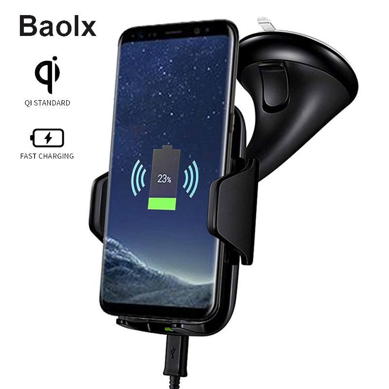 Multi-Funtion Qi Wireless Charge Car Charger Phone Mount Holder Fast Charging For Samsung Galaxy Note8 S7 S8 S9 Plus iPhone X 8