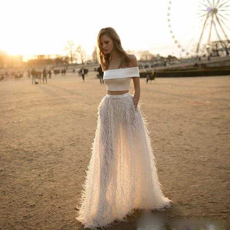 Sexy Long White Prom Dress 2 Piece Velvet Feather Puffy Boho Indian
