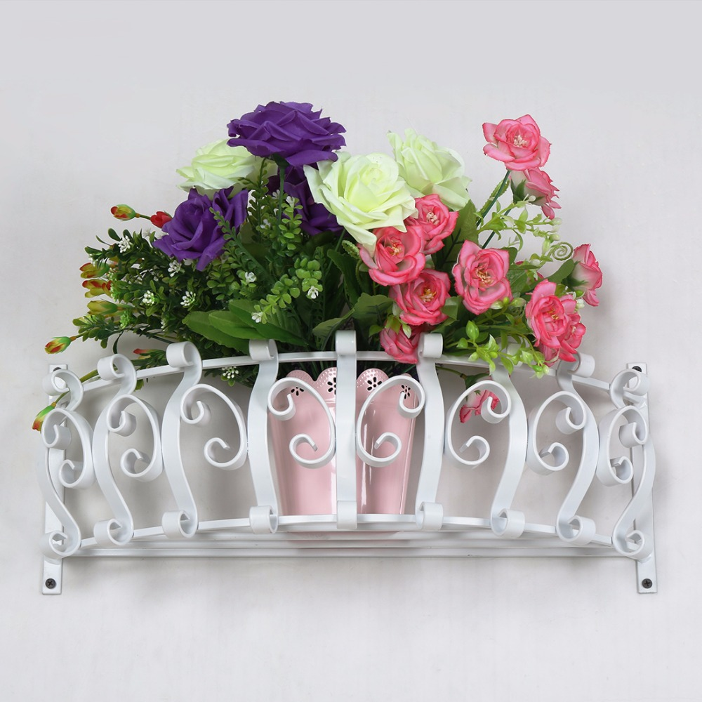 Wall Mounted Metal Vase Wall Hanging Planter Plant Flower Pot Small Plants Classic Decoration Home decor White,Best for Gift