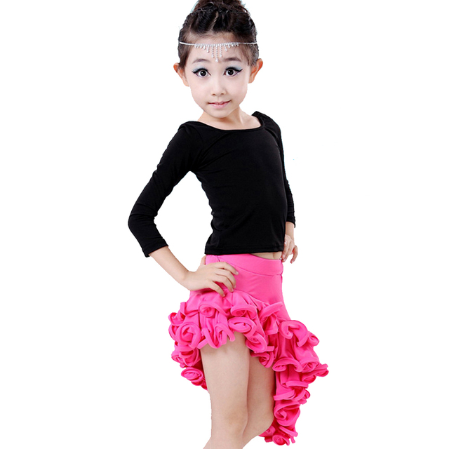 f0fba2bdd Dancing Dresses For Girls Rose/Red/Lake Blue Cha Cha/Rumba/Latin Dance  Costume Top&Skirt Kids Latino Dress Milk Silk Dancewear
