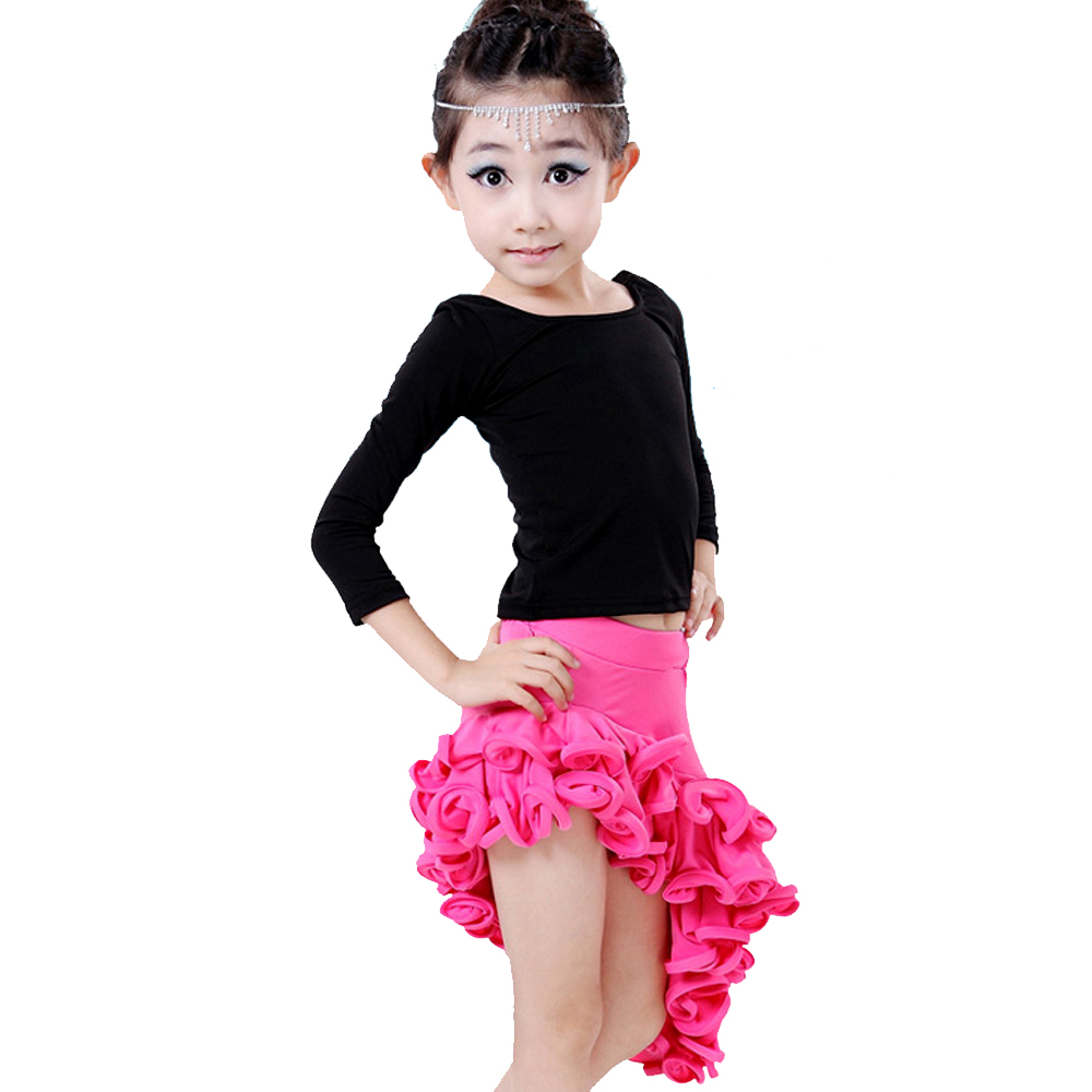 Dancing Dresses For Girls Rose/Red/Lake Blue Cha Cha/Rumba/Latin Dance Costume Top&Skirt Kids Latino Dress Milk Silk Dancewear