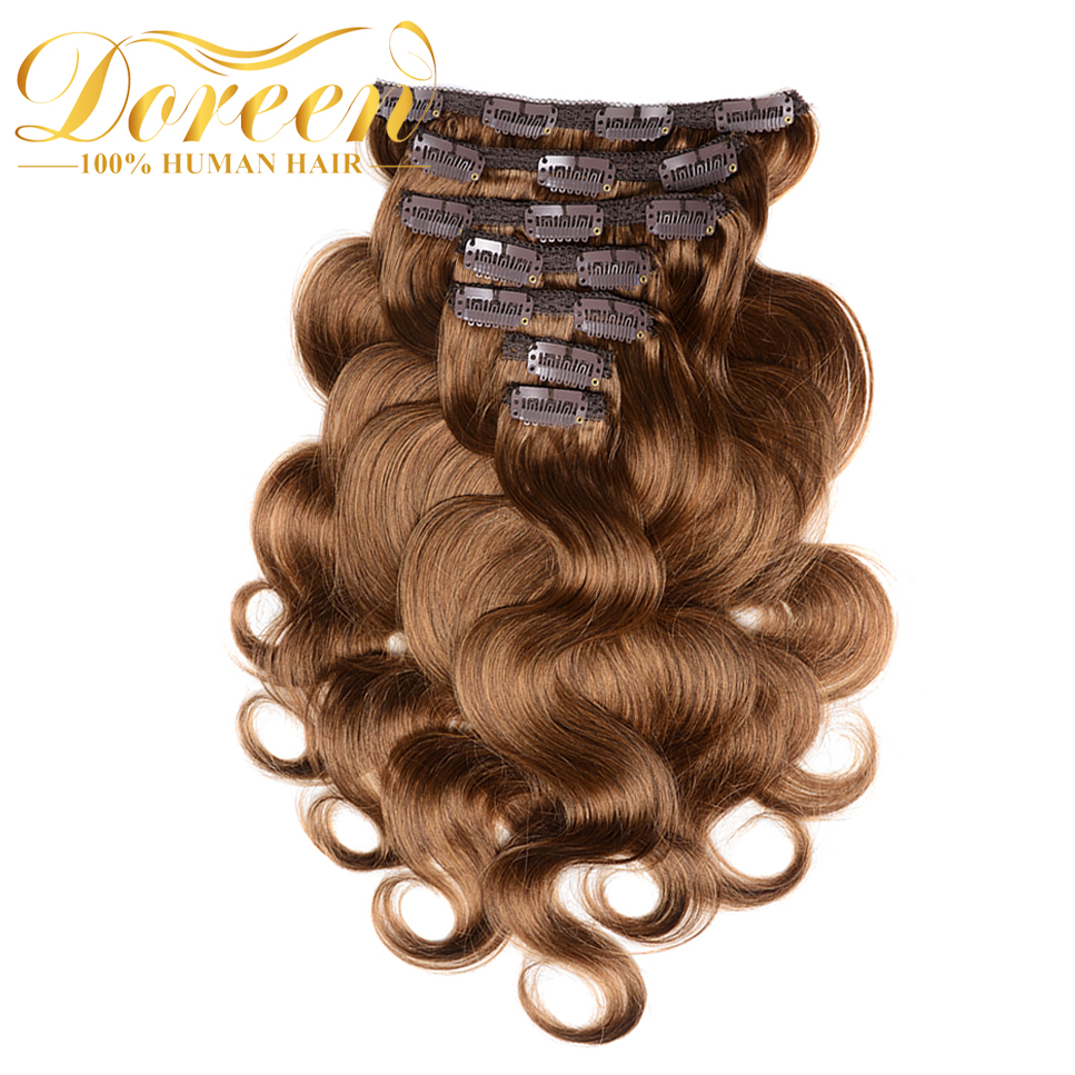 Doreen 200G Thicker Body Wave Clip In Human Hair Extensions Double Weft Brazilian Remy Hair With