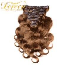 Doreen, 200 г, толстые волнистые человеческие волосы на заколках для наращивания, двойной уток, бразильские волосы remy с кружевом, натуральные человеческие волосы