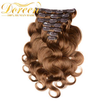 Doreen 200G Thicker Body Wave Clip In Human Hair Extensions Double Weft Brazilian Remy Hair With Lace 100% Natural Human Hair - DISCOUNT ITEM  32% OFF All Category