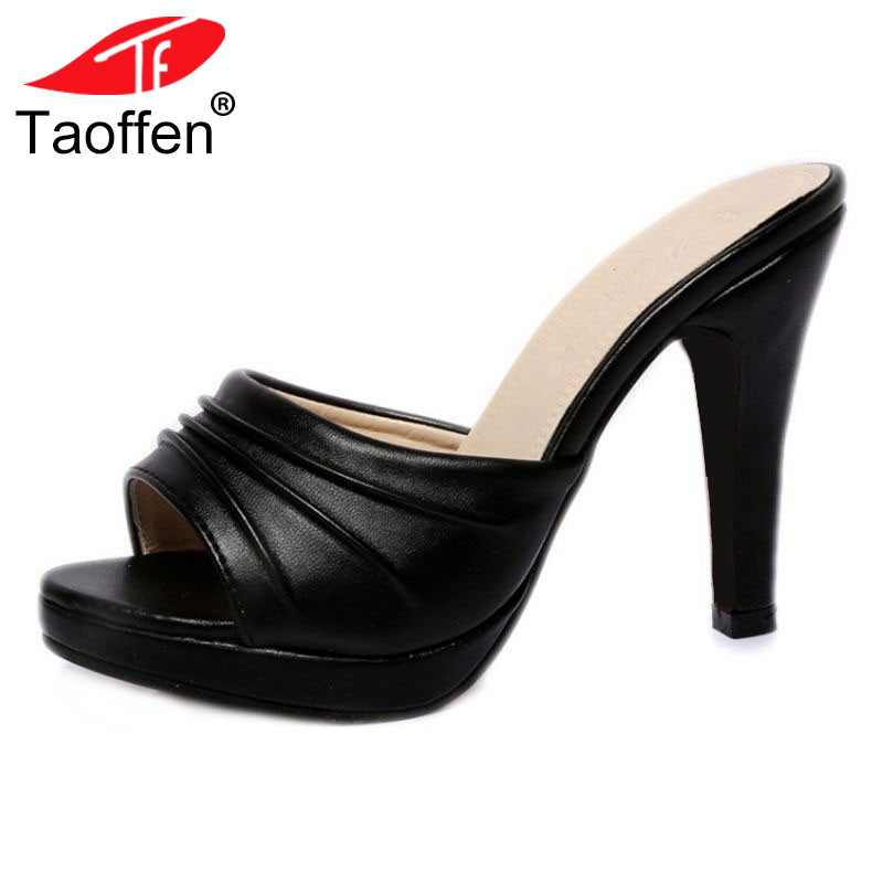 TAOFFEN Women High Heel Sandals Open Toe Pleated Concise Slippers Solid Color Shoes Women Footwear Summer Party Size 34-39 taoffen women high heel sandals open toe pleated concise slippers solid color shoes women footwear summer party size 34 39