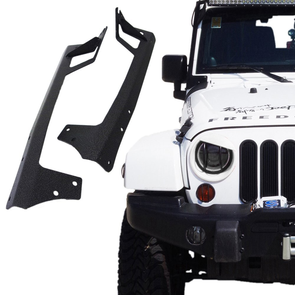 Marloo Steel Metal Upper Windshield Mounting Brackets For 2007 - 2017 Jeep Wrangler JK 50 Inch LED Work Light Bar