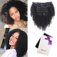 Afro Kinky Curlys Clip In Human Hair Extensions 4B 4C Clip on Extensions For Black Women Virgin Vietnamese Hair 128 grams/set