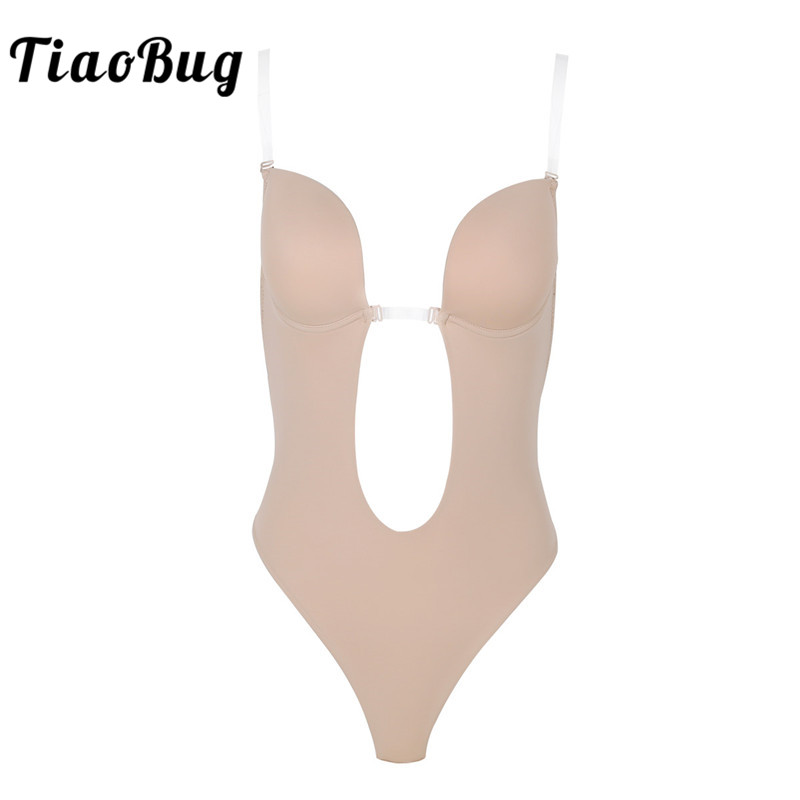 TiaoBug Women Khaki Underwire Padded Push Up Bra Top Plunging V-Neck Adjustable Clear Straps Backless Thong Shapewear Bodysuit