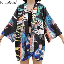 NiceMix Kimonos Harajuku Print Phoenix Cardigan Women Tops Yukata Cosplay Japanese Style Shirts 2019 Summer Thin Blouses new