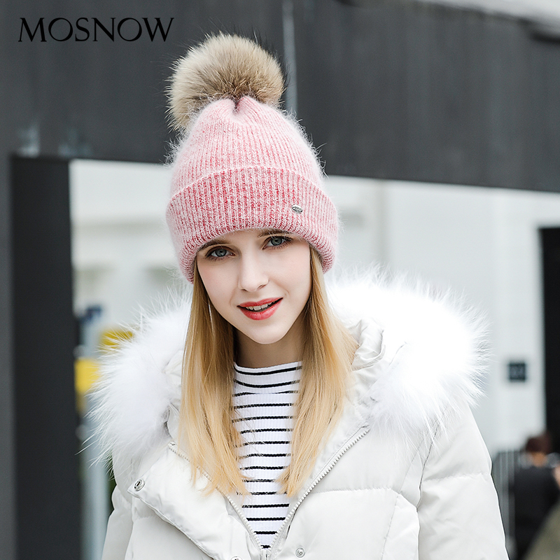MOSNOW Winter Hats For Women Knitted Women Wool 2018 Fashion New Fur Pompom High Quality   Beanie     Skullies   Bonnet Femme #MZ824