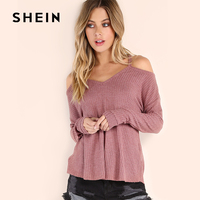 SHEIN PINK Waffle Knit Cold Shoulder Women T Shirt 2017 Autumn Spring Fashion Long Sleeve Sexy