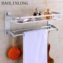 BAOLINLONG Space Aluminum Towel Shelf Brushed Bathroom Shelves Cosmetic Accessorie