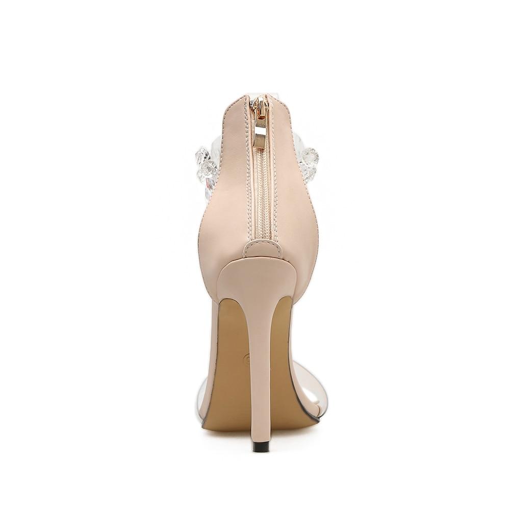 Sapatos Haute 2018 Sandalias Femmes Bout Sangle Rumbidzo Femme Éclair Cristal Clair Sandales Mode Chaussures Fermeture Mince Cheville À Beige noir Talon Ouvert Talons RqZfaxw