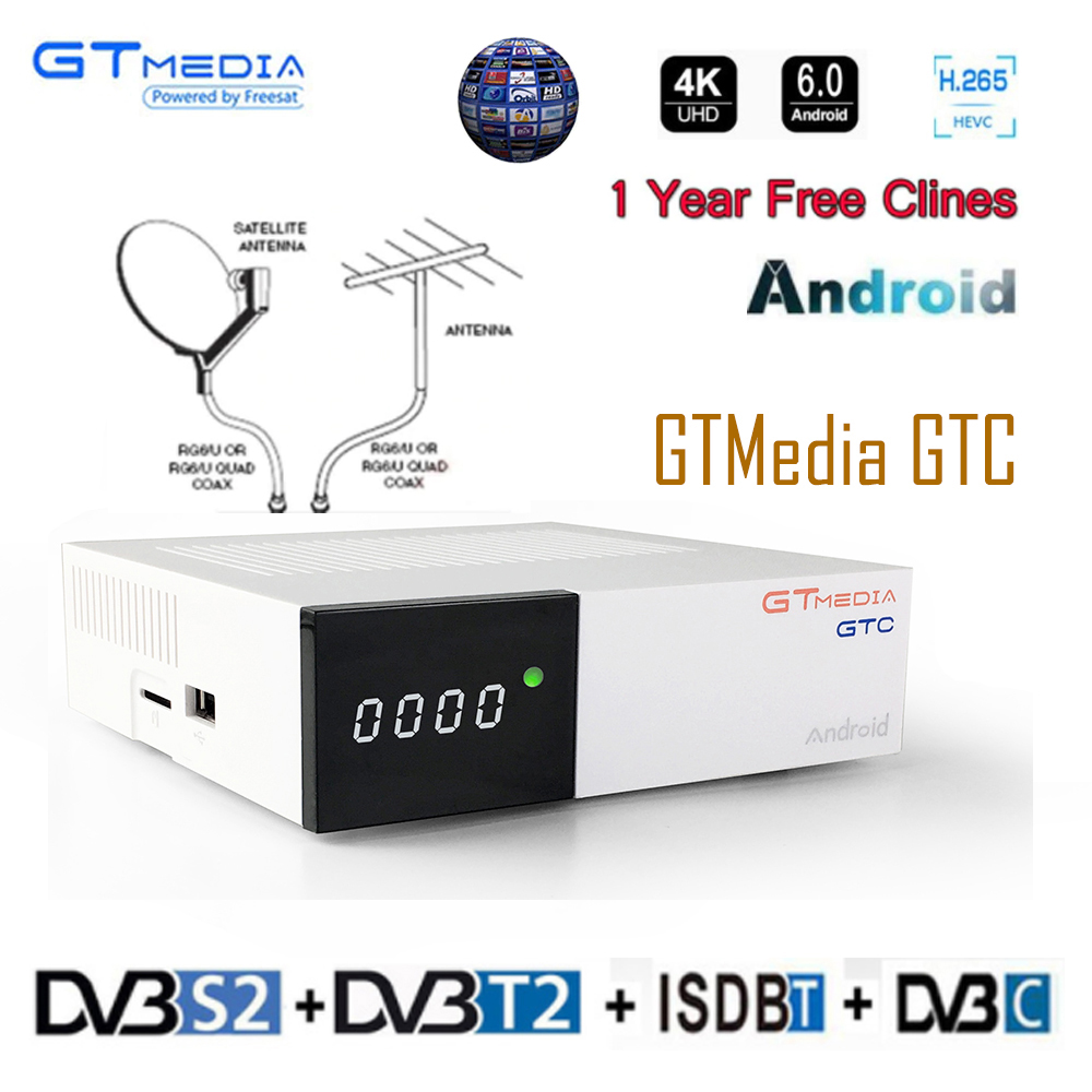 GTmedia GTC decoder <font><b>DVB</b></font>-<font><b>S2</b></font> <font><b>DVB</b></font>-C <font><b>DVB</b></font>-<font><b>T2</b></font> Amlogic S905D <font><b>android</b></font> 6.0 <font><b>TV</b></font> <font><b>BOX</b></font> 2GB 16GB +1 Year cccam Satellite <font><b>TV</b></font> Receiver set <font><b>tv</b></font> <font><b>box</b></font> image
