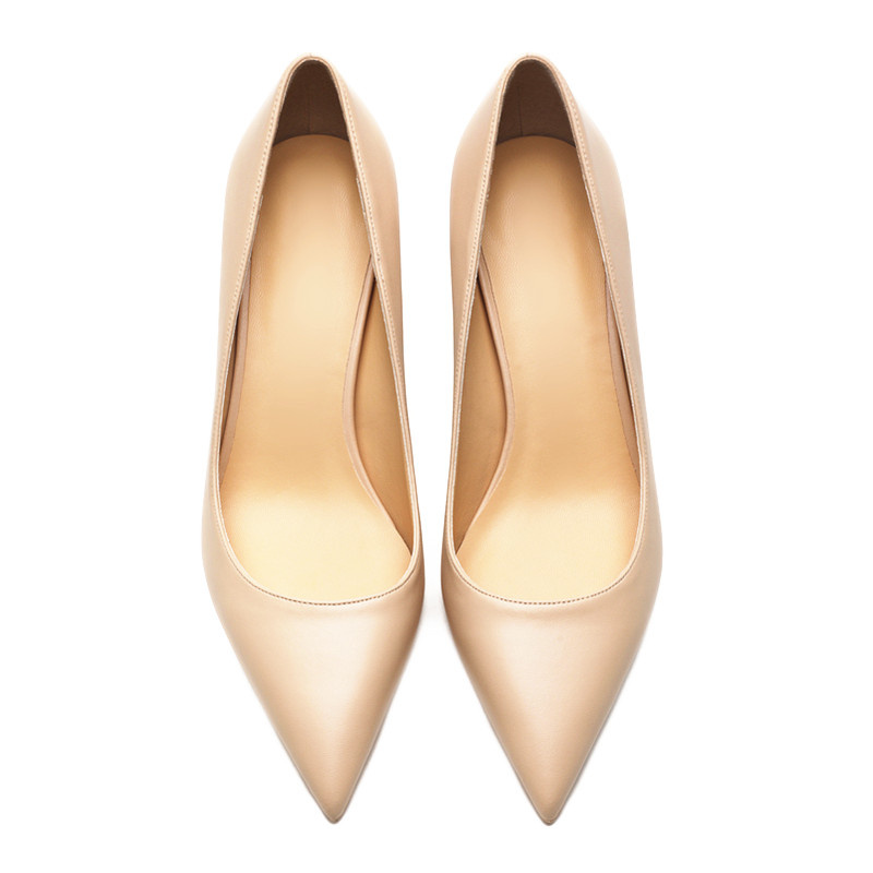 Image 4 - KATELVADI Ladies Shoes Beige Split Leather 6.5CM High Heel Pumps Women Shoes Sapato Feminino Footwear Size 34 42 K 324-in Women's Pumps from Shoes