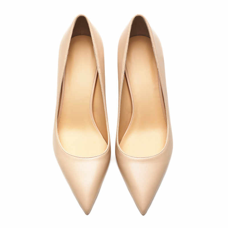 ec14788d13 KATELVADI Ladies Shoes Beige Split Leather 6.5CM High Heel Pumps Women  Shoes Sapato Feminino Footwear Size 34-42 K-324