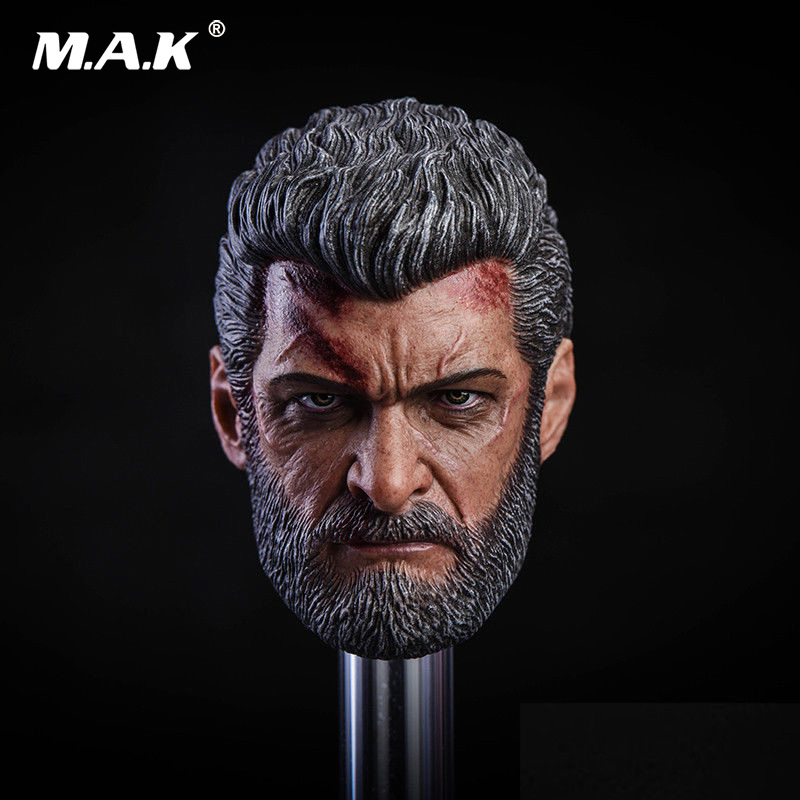 1/6 Scale Male Head Sculpt Wolverine Logan Head Carved Battle Damaged Head Model for 12 inches Man Body Accessory1/6 Scale Male Head Sculpt Wolverine Logan Head Carved Battle Damaged Head Model for 12 inches Man Body Accessory