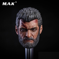 1/6 Scale Male Head Sculpt Wolverine Logan Head Carved Battle Damaged Head Model for 12 inches Man Body Accessory