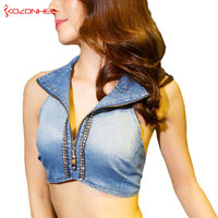 Women Out Denim Bra Crop Tops Summer Tank Top