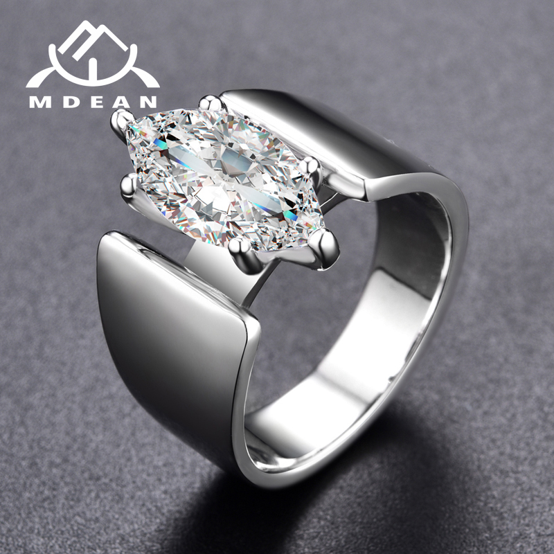 MDEAN Noble White Gold Color Engagement Rings for Women Wedding Clear AAA Zircon Jewelry Bague Bijoux Size 6 7 8 H822