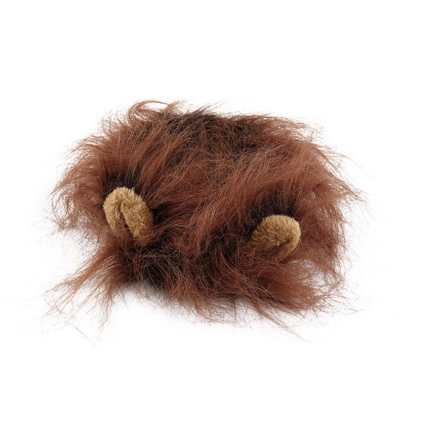 Pet Cat Dog Emulation Lion Hair Mane Ears Head Cap Autumn Winter Dress Up Costume Muffler Scarf