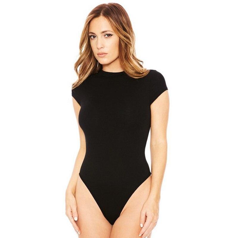 summer 2019 short sleeve o neck Skinny bodysuit sexy bodycon black white blue green body top femme Female   jumpsuit   romper jumper