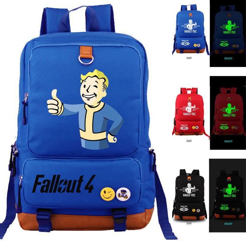 FALLOUT4 school bag Noctilucent backpack student school bag Notebook backpack Leisure Daily backpack
