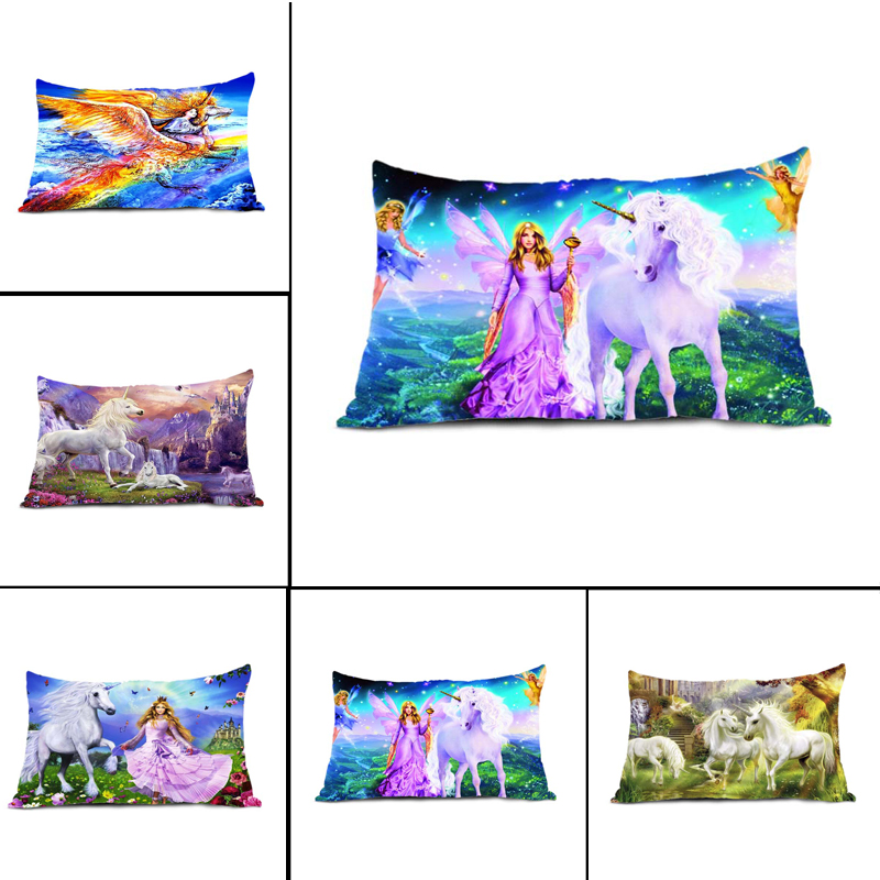 Top Sale Nice Bedding Set Caroon Anime White Unicorn with Princess Castle Fairy Flying Elf Music