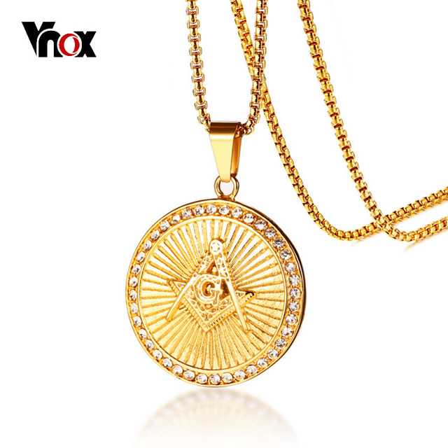 Vnox Masonic Rays Pendant for Men Necklace Gold Color Stainless