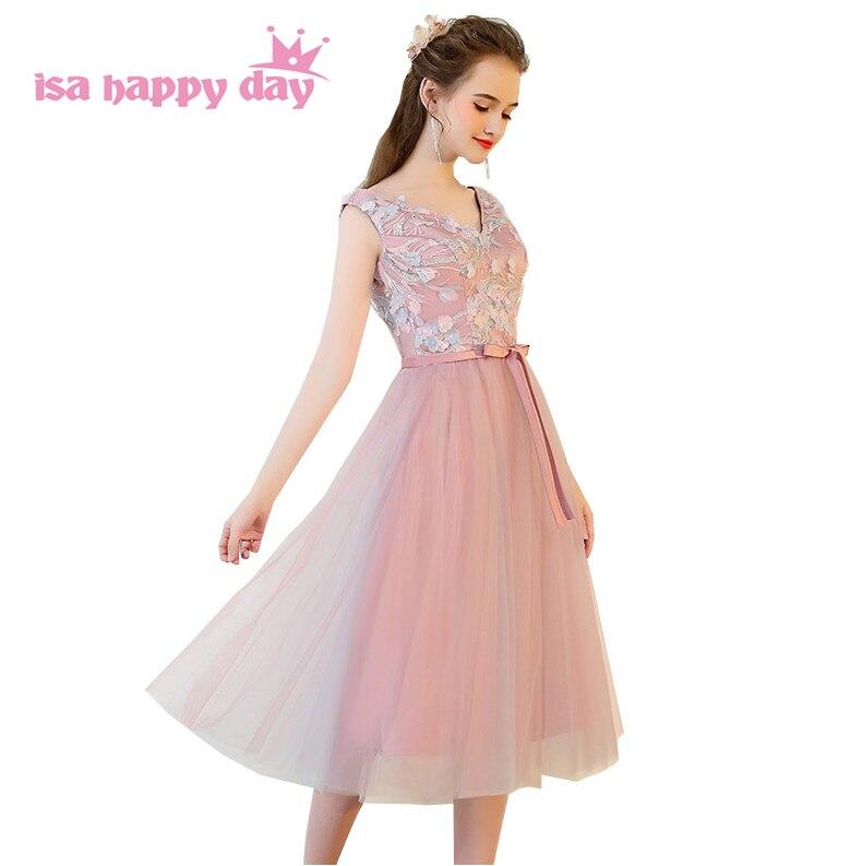 Girls Tea Length Appliques Occasion Women Elegant Sexy Blush Dress Woman Formal Bride Maid Dresses Ball Gown For Weddings H4207