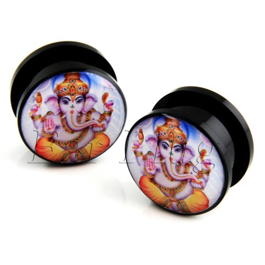 Pair of Ganesh God ear plug gauges tunnel acrylic screw flesh tunnel body piercing jewelry PAP008