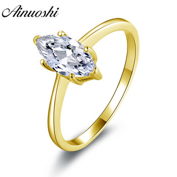 AINUOSHI Classic 1 CT Solitaire Ring 14K Solid White/Yellow Gold Band Marquise Cut Sona Diamond Wedding Engagement Women Ring