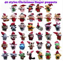 new 40pieces/lot 4-8cm MINI 40style Christmas Finger puppets plush doll toy Children's gift(China)