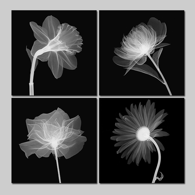 Modern Fashion black white negative 4 pcs living room Decoration ...
