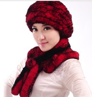 Natural Rex Rabbit Fur Hat Winter Women S Scarf With Flower Handmade Knitted Warm Cap Free