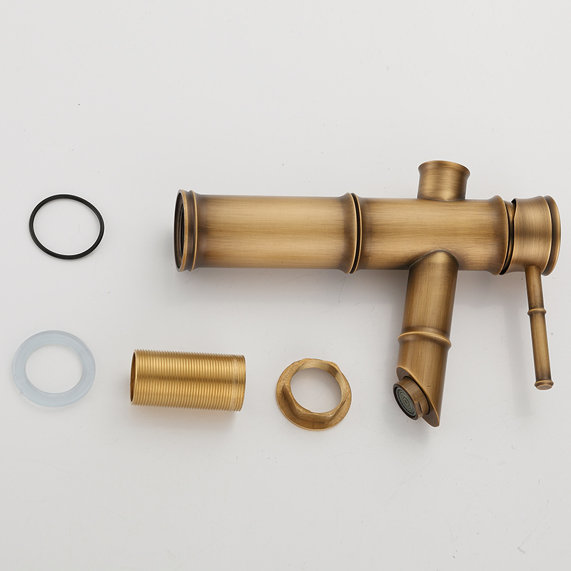 Bathroom Faucet Brass Basin Faucets Retro Luxury Tap Tall Bamboo Hot Cold Water with Two Pipes Kitchen Garden Water Mixer Taps in Basin Faucets from Home Improvement