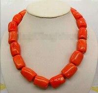 FREE shipping>>> >>> 22*18mm Orange Natural coral column stick Chain Alloy Clasp 18 necklace_CON22