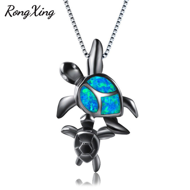 Rongxing big small turtle blue fire opal pendant necklaces for rongxing big small turtle blue fire opal pendant necklaces for women black gold filled animal aloadofball Image collections