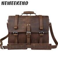 Натуральная кожа Большая емкость 17 дюймов ноутбук рюкзак мужской из натуральной кожи Crossbody сумка портфель 5048