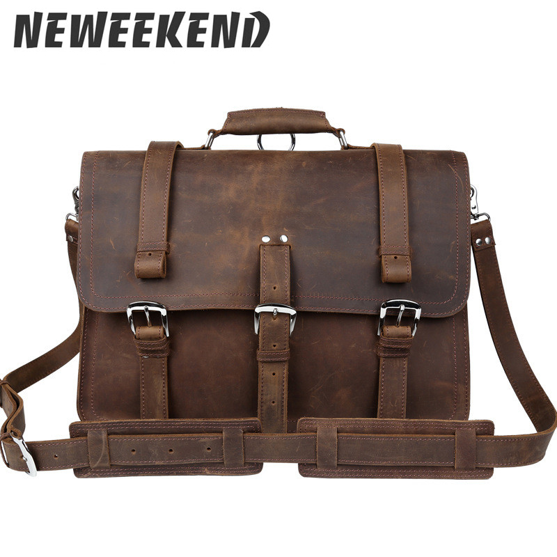 Genuine Leather Big Capacity 17 Inch Laptop Backpack Men's Genuine Leather Crossbody Shoulder Bag Portfolio 5048