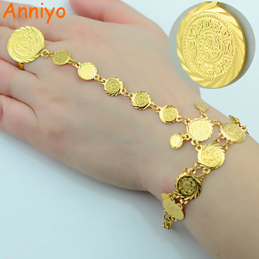 Anniyo Wholesale Coin Bracelet for Women,Arab Chain Middle Eastern Gift,Gold Color Coins Jewelry Middle Eastern Wedding #048006 eastern livestock 5ml