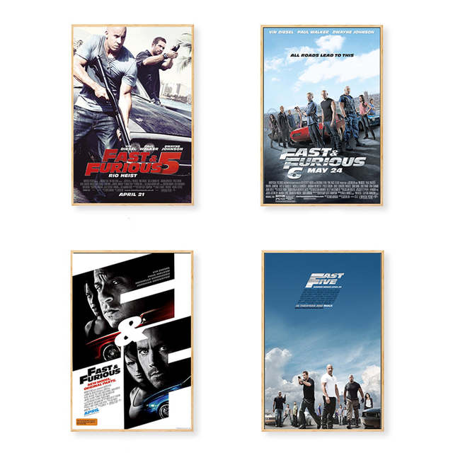 US $2 69 10% OFF|Paul Walker Fast and Furious series Classic Car Canvas  Poster Wall Art Picture Print for Living Room Decor Boys Bedroom Gift-in