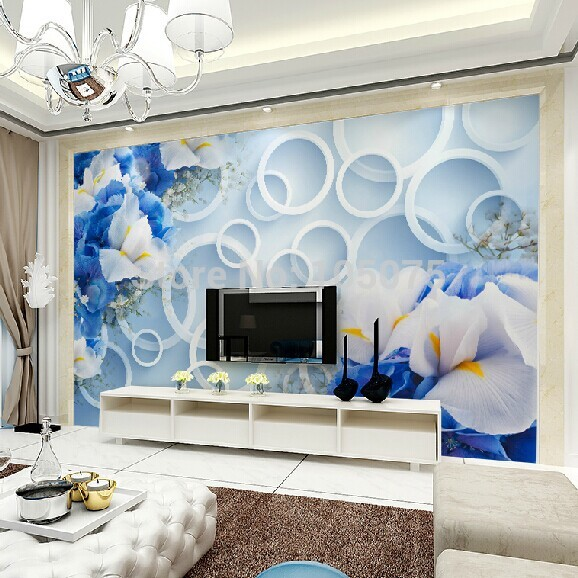 Large 3d wall mural for Living Room TV background 3d Photo murals wallpaper blue flowers Papel mural wall paper custom 3d photo wallpaper mural nordic cartoon animals forests 3d background murals wall paper for chirdlen s room wall paper