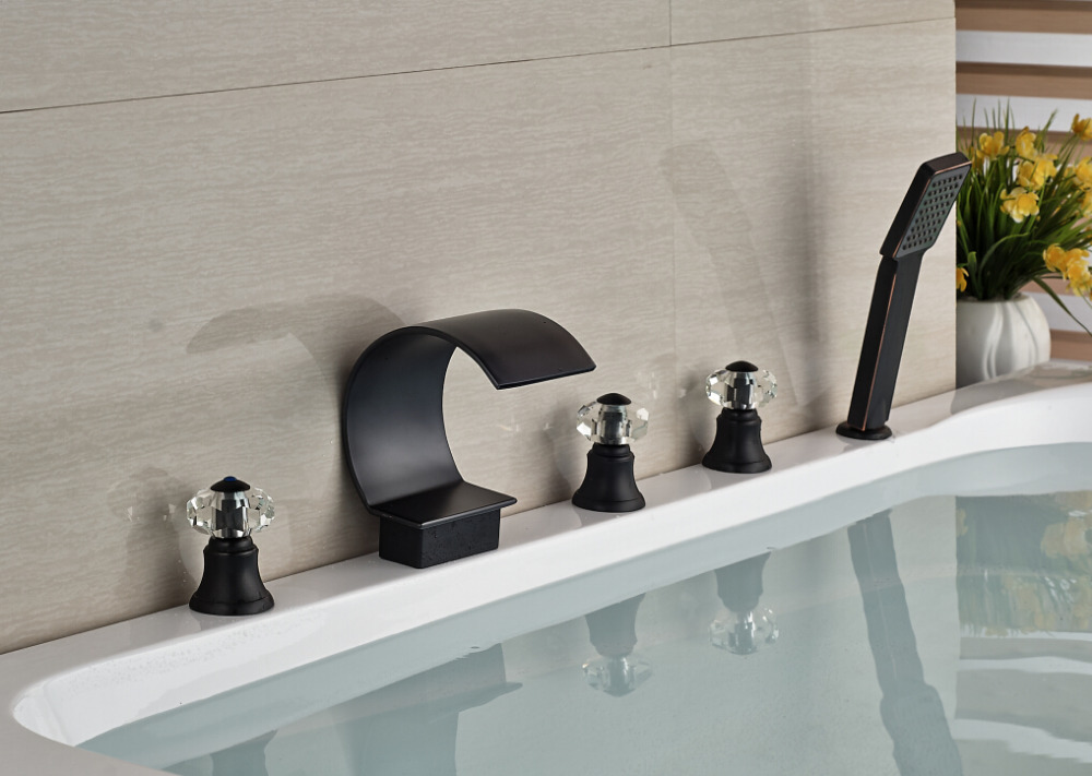 Modern Oil Rubbed Bronze Mixer Tap Deck Mounted Spout Bathroom Tub Faucet With Hand Shower Sprayer