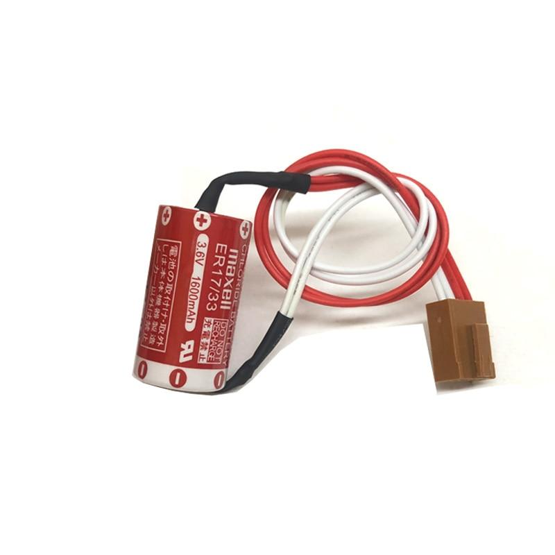10 pçs/lote Original Novo MAXELL ER17/33 Baterias de 3.6V 1600mAh Bateria De Lítio PLC com Quatro- plugue de furo (ER17/33)