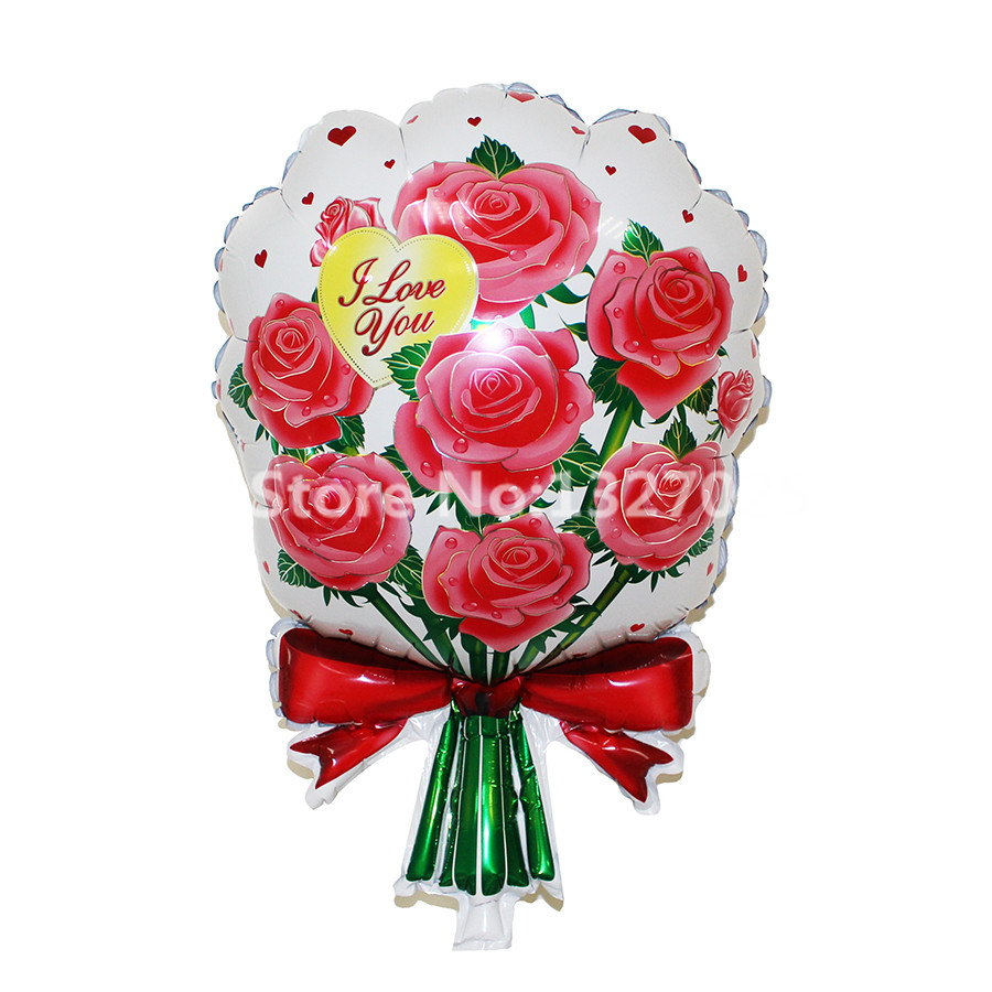 1pcs/lot Red & Pink Bouquet Roses Balloon Flowers Baloon Birthday ...