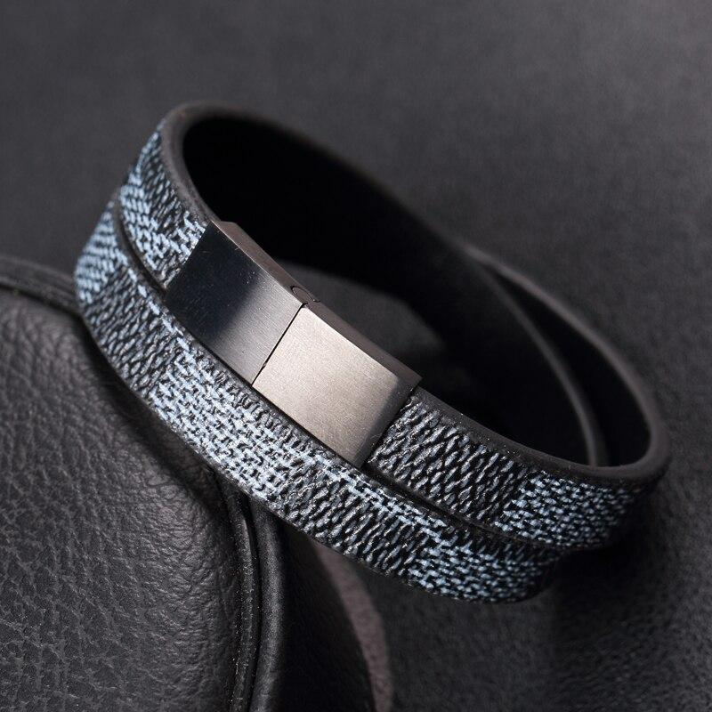Prix pour Nouvelle Arrivée À La Mode Hommes 10*3mm De Luxe En Cuir Bracelets Hommes Classique En Acier Inoxydable En Cuir Bracelets & Bangles Livraison gratuite
