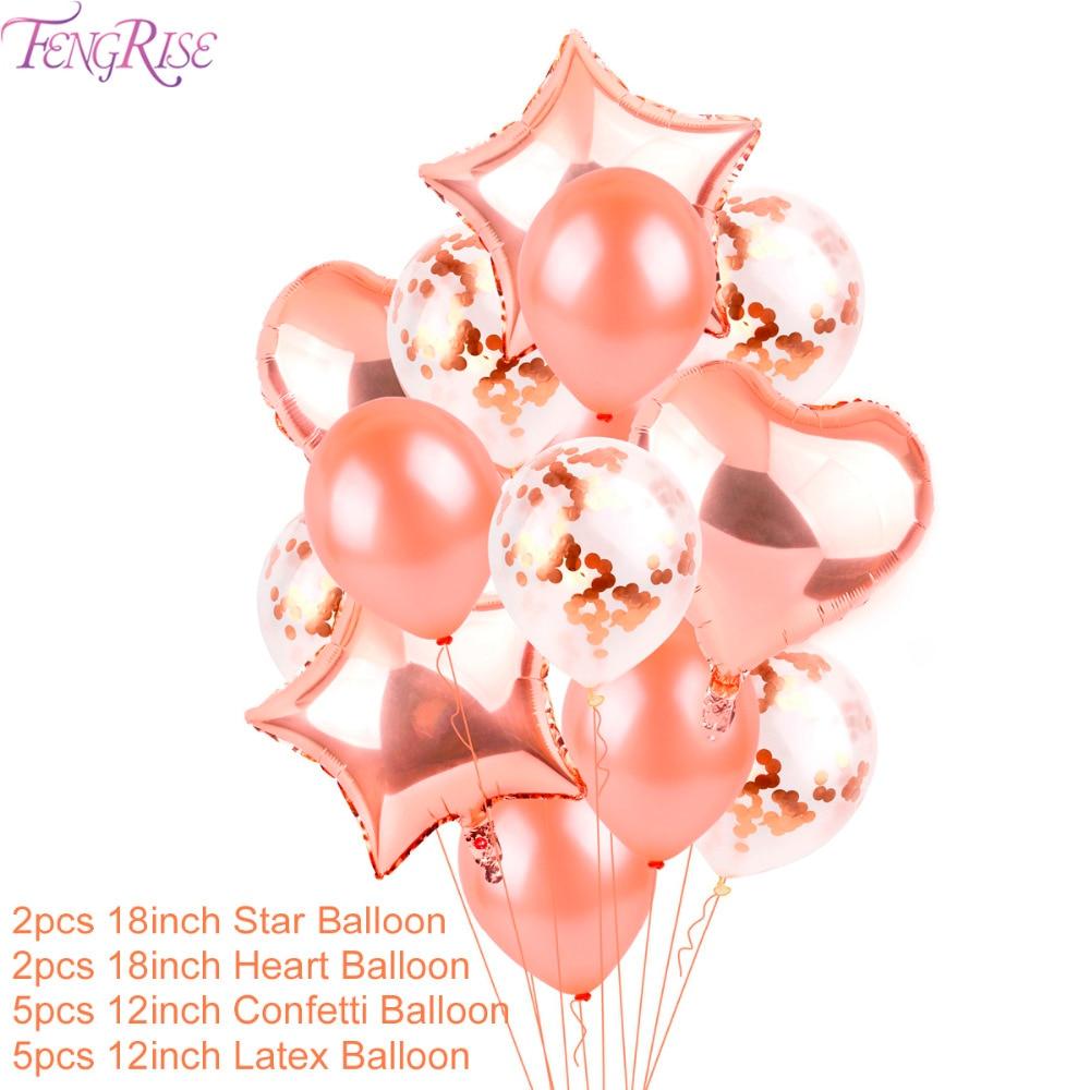 FENGRISE Globos de la Boda de Oro Rosa Confeti de Champán Globo de - Para fiestas y celebraciones