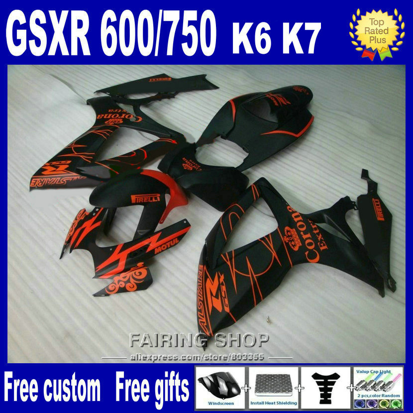 High quality lower price injection mold fairings for suzuki gsxr 600 750 2006 2007 red black fairing kit gsxr750 06 07 nv113
